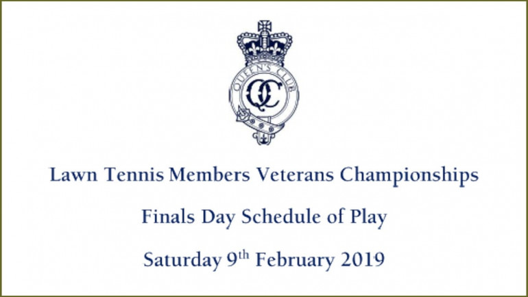 Members Veterans Championships Finals Day Schedule of Play