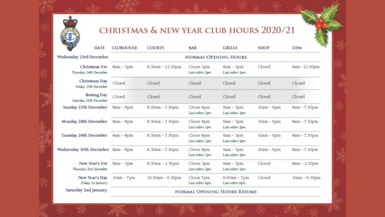 Christmas & New Year Club Hours 2020/21